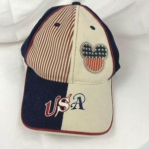Disney Mickey Mouse Hat USA Red White Blue Flag